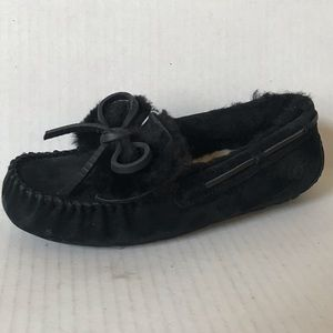 UGG DAKOTA Double Bow moccasin slippers Black NEW!